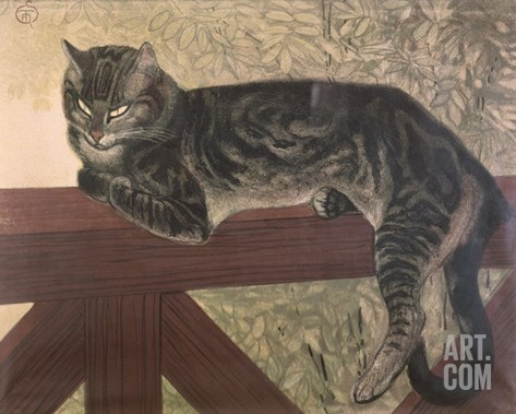 Cat on Balustrade Stretched Canvas Print
