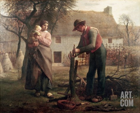 Peasant Grafting a Tree Stretched Canvas Print