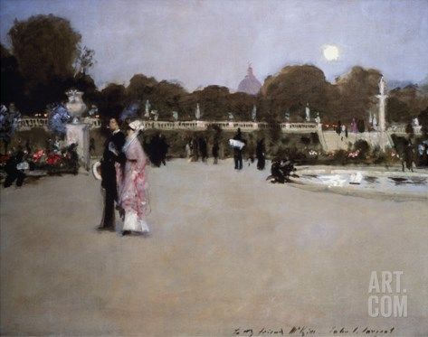 Luxembourg Gardens at Twilight Stretched Canvas Print