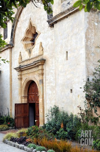 Church Door at Mission San Carlos Stretched Canvas Print