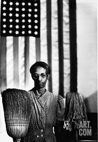 Ella Watson Standing with Broom and Mop in Front of American Flag, Part of Depression Era Survey Stretched Canvas Print