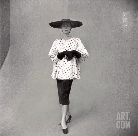 Fashion Model Showing Polka Dotted Smock Top over Black Skirt by Balenciaga Stretched Canvas Print
