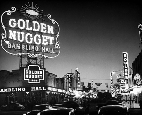 The Golden Nugget Gambling Hall Lighting Up Like a Candle Stretched Canvas Print