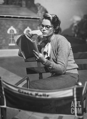"Actress Grace Kelly Studying Script for Her Role of Georgie in ""The Country Girl"" on movie set Stretched Canvas Print"