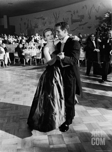 Actress Joanne Woodward Dances with Paul Newman at the 1st Governor's Ball, Beverly Hilton Hotel Stretched Canvas Print