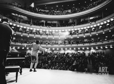 Ray Charles Singing, with Arms Outstretched, During Performance at Carnegie Hall Stretched Canvas Print