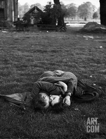 American Soldier Kissing English Girlfriend on Lawn in Hyde Park, Favorite Haunts of US Troops Stretched Canvas Print