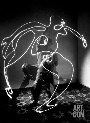 Multiple Exposure of Artist Pablo Picasso Using Flashlight to Make Light Drawing of a Figure Stretched Canvas Print