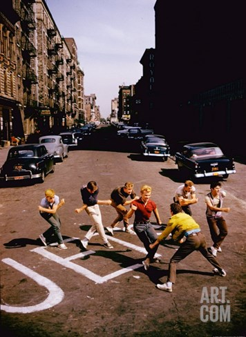 Jets' Dance on Busy Street in Scene from West Side Story Stretched Canvas Print