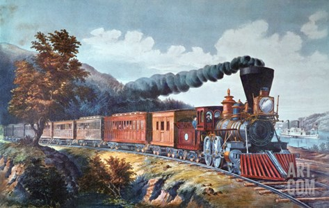 American Express Train, 1864 Stretched Canvas Print