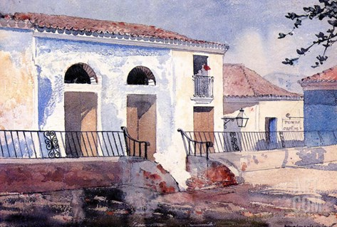 House in Santiago, Cuba, c.1885 Stretched Canvas Print