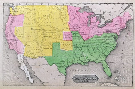 Map of the United States, c.1861 Stretched Canvas Print