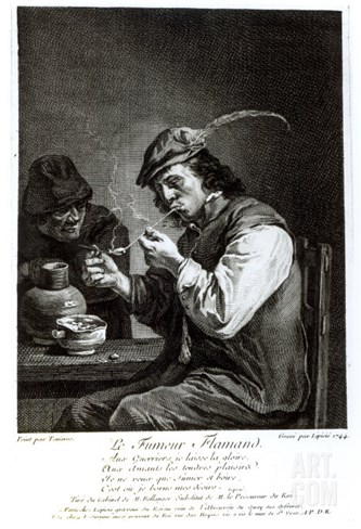 The Flemish Smoker, Engraved by Francois Bernard Lepicie Stretched Canvas Print
