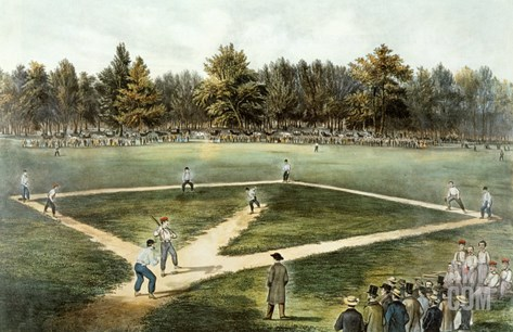 The American National Game of Baseball - Grand Match at Elysian Fields, Hoboken, Nj, 1866 Stretched Canvas Print