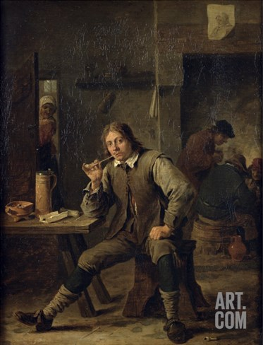 Smoker Leaning on a Table, 1643 Stretched Canvas Print