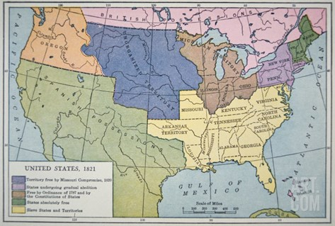 Map of the United States of America, Depicting the Slave States and Free States, 1821 Stretched Canvas Print