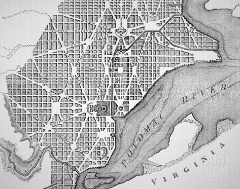 Plan of the City of Washington as Originally Laid Out in 1793 Stretched Canvas Print