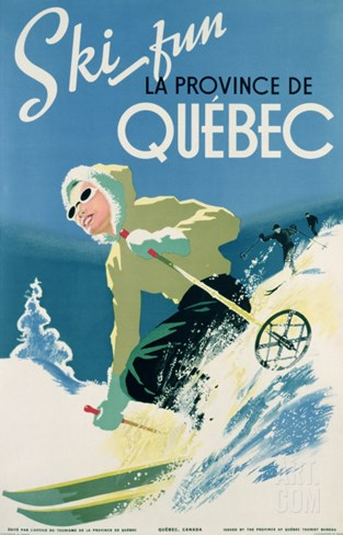 Poster Advertising Skiing Holidays in the Province of Quebec, c.1938 Stretched Canvas Print