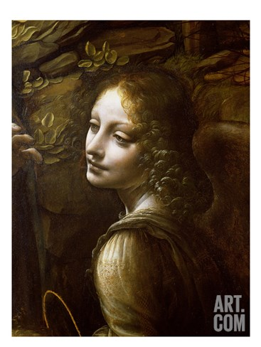 Detail of the Angel, from the Virgin of the Rocks Stretched Canvas Print