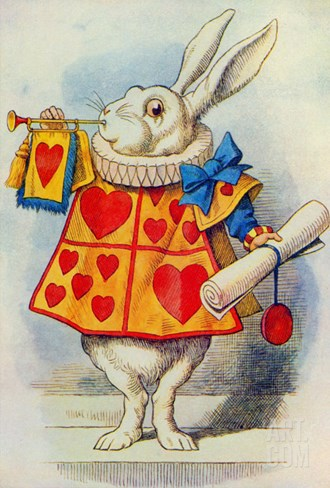 The White Rabbit, Illustration from Alice in Wonderland by Lewis Carroll Stretched Canvas Print