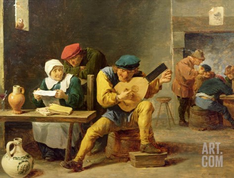 Peasants Making Music in an Inn, c.1635 Stretched Canvas Print