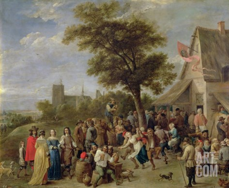 Peasants Merry-Making, c.1650 Stretched Canvas Print