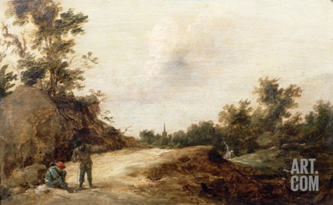 Landscape with Travellers Stretched Canvas Print
