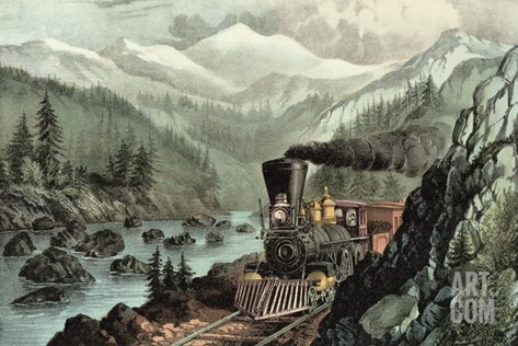 The Route to California. Truckee River, Sierra Nevada. Central Pacific Railway, 1871 Stretched Canvas Print