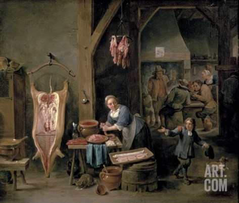 Sausage-Making, 1651 Stretched Canvas Print