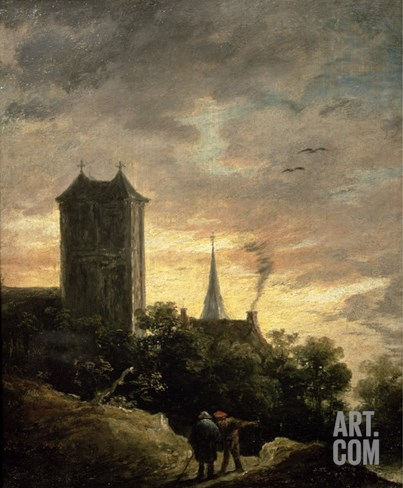 Landscape with a Tower Stretched Canvas Print