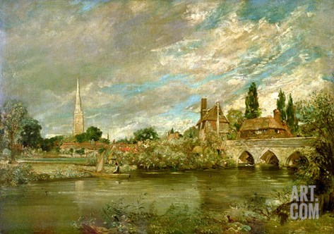 The Bridge of Harnham and Salisbury Cathedral, c.1820 Stretched Canvas Print
