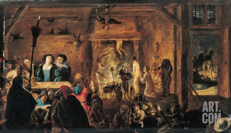 Scene of Sorcery, 1633 Stretched Canvas Print