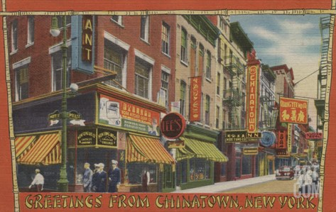 New York City, New York - Greetings From Chinatown Stretched Canvas Print