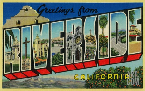 Riverside, California - Large Letter Scenes Stretched Canvas Print