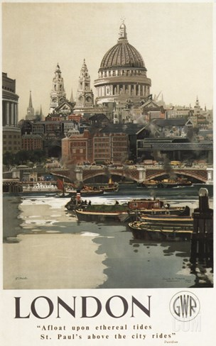 London, England - Great Western Railway St. Paul's Travel Poster Stretched Canvas Print