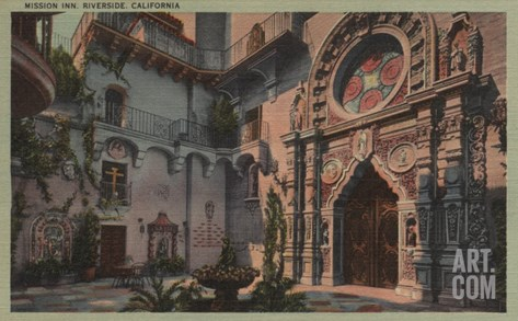 Riverside, CA - View of Mission Inn Courtyard Stretched Canvas Print