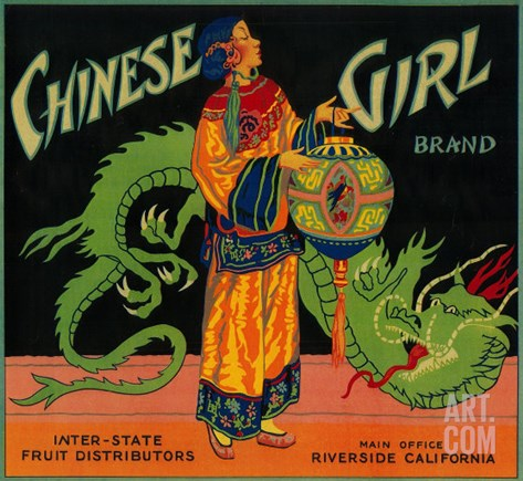 Chinese Girl Orange Label - Riverside, CA Stretched Canvas Print