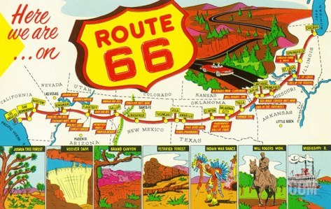 Map of Route 66 from Los Angeles to Chicago Stretched Canvas Print