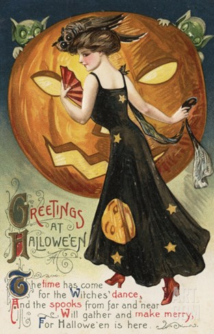 Halloween Greeting - Witch Dancing and Pumpkin Stretched Canvas Print