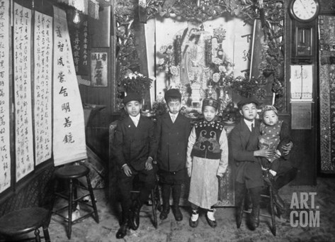 Five Boys at a New Year's Celebration in Chinatown NYC Photo - New York, NY Stretched Canvas Print