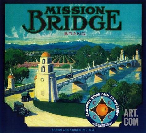 Mission Bridge Orange Label - Riverside, CA Stretched Canvas Print