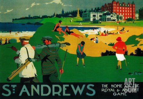 St. Andrews Vintage Poster - Europe Stretched Canvas Print