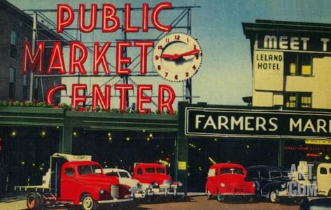 Pike Place Market, Seattle, WA - Seattle, WA Stretched Canvas Print