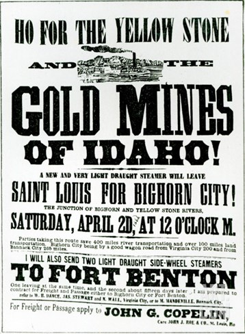 Handbill Advertising Steamer Voyages to the Gold Mines of Idaho, 1865 Stretched Canvas Print