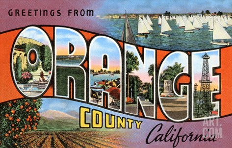 Greetings from Orange County, California Stretched Canvas Print