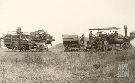 Early Farm Equipment Stretched Canvas Print