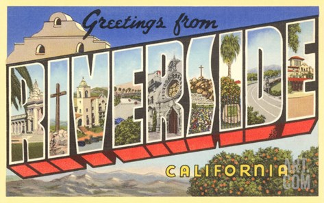 Greetings from Riverside, California Stretched Canvas Print