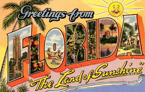 Greetings from Florida, Land of Sunshine Stretched Canvas Print