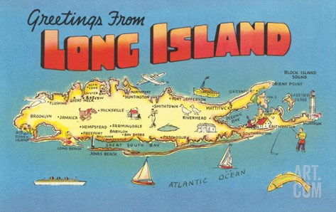Greetings from Long Island, New York Stretched Canvas Print