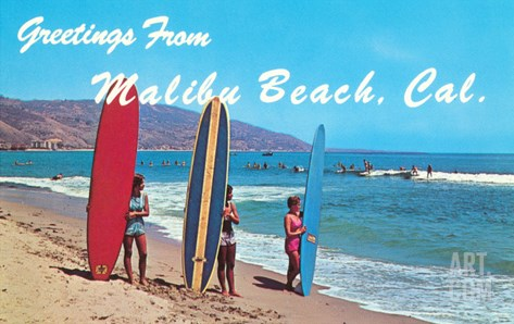 Greetings from Malibu Beach, California, Surfers Stretched Canvas Print